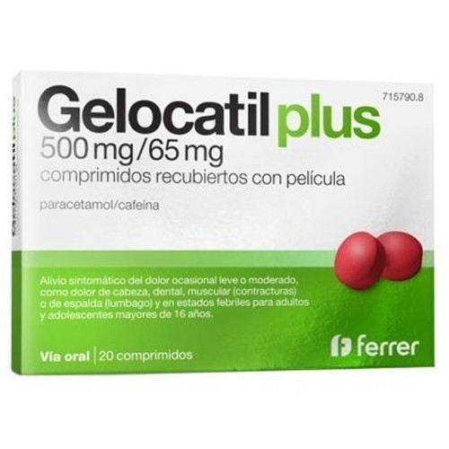 GELOCATIL PLUS 500 MG/65 MG PARACETAMOL CAFEINA